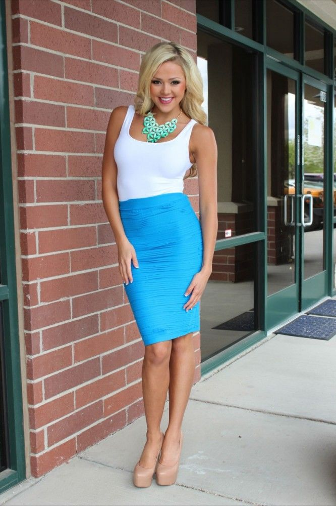 Modern Vintage Boutique - State of the Perfection Pencil Skirt Sky Blue,(http://www.modernvintageboutique.com/state-of-the-perfection-pencil-skirt-sky-blue.html)
