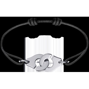 "Dinh Van Joaillier ""Menottes dinh van R15"" Bracelet, White Gold and Leather Cord"