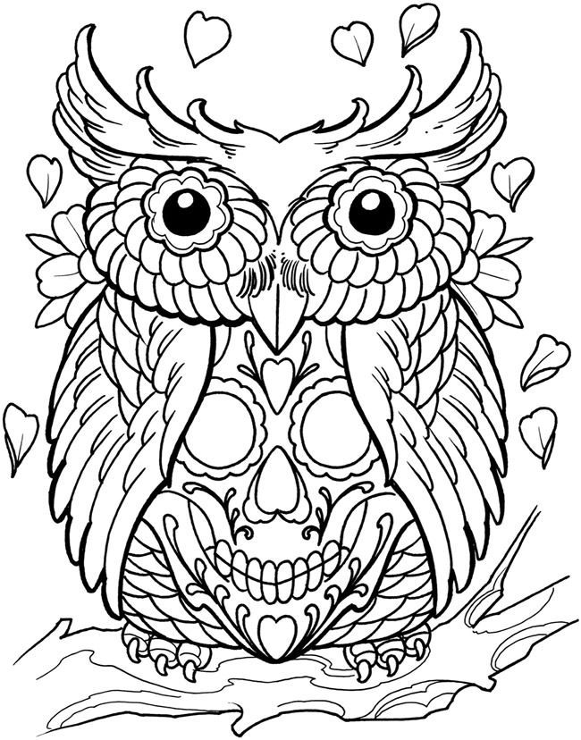 Sugar Skull Coloring Pages Pdf At Getcolorings Com Free Printable Colorings Pages To Print And C Owl Coloring Pages Skull Coloring Pages Tattoo Coloring Book
