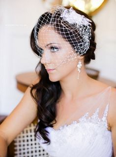 birdcage veil side ponytail - Google Search
