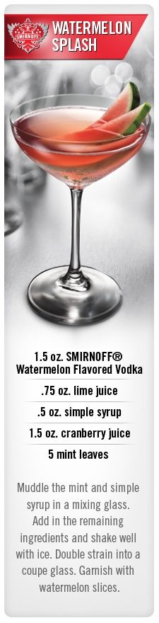 Smirnoff Watermelon Splash drink recipe with Smirnoff Watermelon flavored vodka