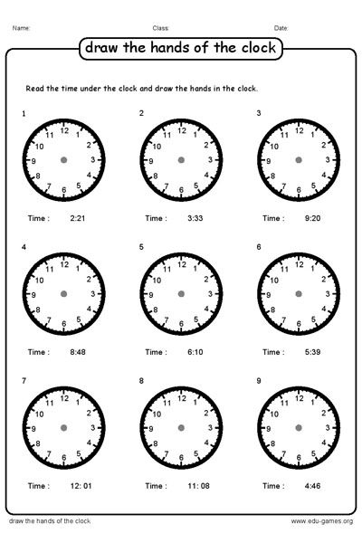 Draw the hands of the clock according to the time. Free