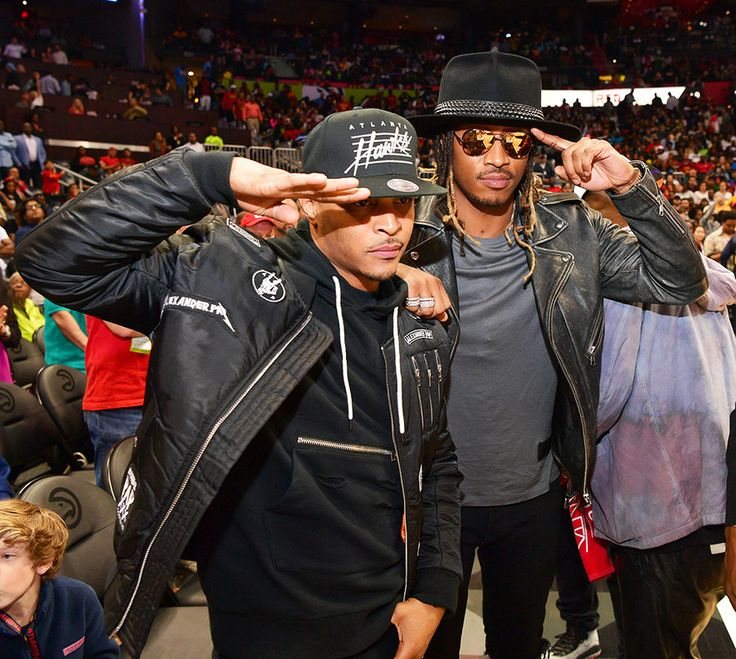 T.I. and Future court side salute