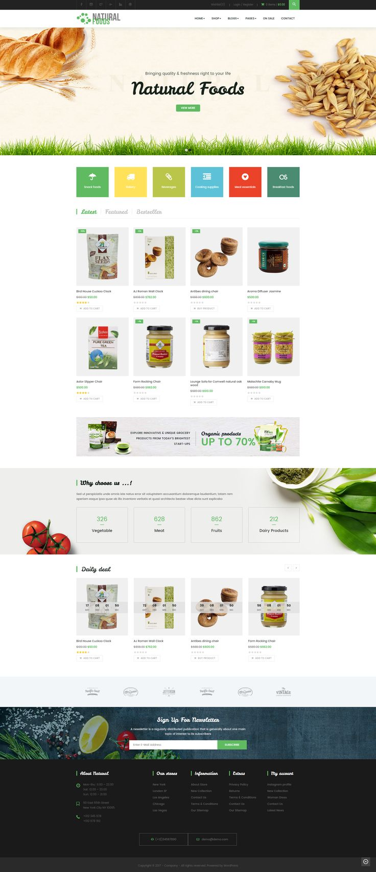 NaturalFood is responsive #WordPress #Woocommerce theme with unlimited layout options and a lot of unbelievable features. It's suitable for any store such as: Organic Store, grocery store, supermarket store, retail, furniture, accessories, flowers, kids toy or any store Not just support WooCommerce, #NaturalFood comes with exclusive #designs integration. #website
