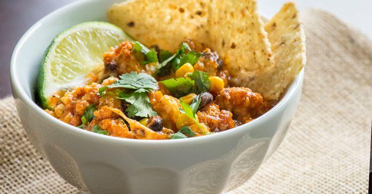 Cheesy Cauliflower Enchiladas, ( omit the corn & add white beans or more black beans )