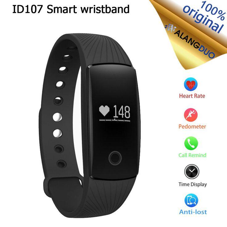 ALANGDUO Smart Bracelet ID107 Bluetooth Fitness Tracker Heart Rate Monitor Alarm Clock Smart Wristband Passometer Tracker IP67 //Price: $33.10      #followme