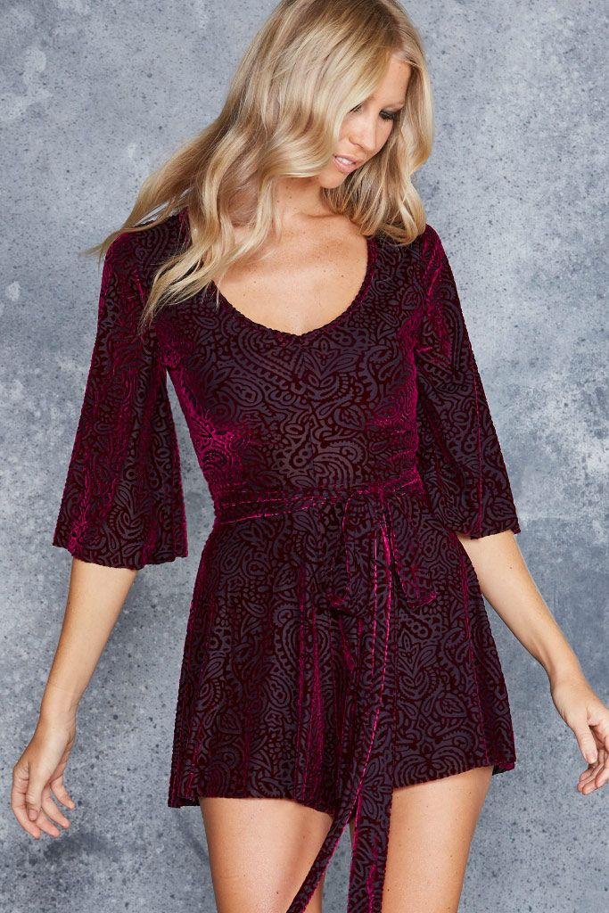 Burned Velvet Magenta Mandala Kimono Playsuit - LIMITED ($110AUD) by BlackMilk Clothing