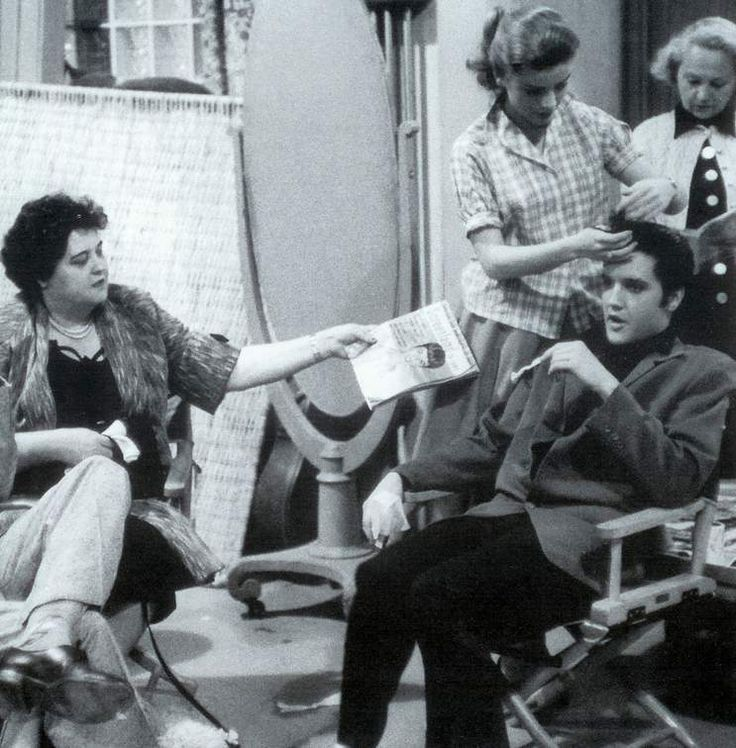Elvis with his mother on the set of Elvis second movie  Loving you february / march 1957.