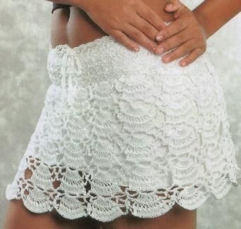 White Scallop Skirt free crochet graph pattern