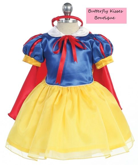 She may need to steer clear of apples, but she's still lovely as can be! Your little princess will be the fairest of all in this fancy Snow White Costume! Costume includes a dress with red cape, and coordinating bow headband. 2-piece set. Infant sizes: 12m, 18m, 24m Polyester. Hand Wash...