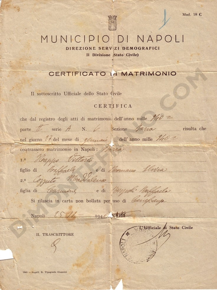 Napoli, 1940 certificato di matrimonio