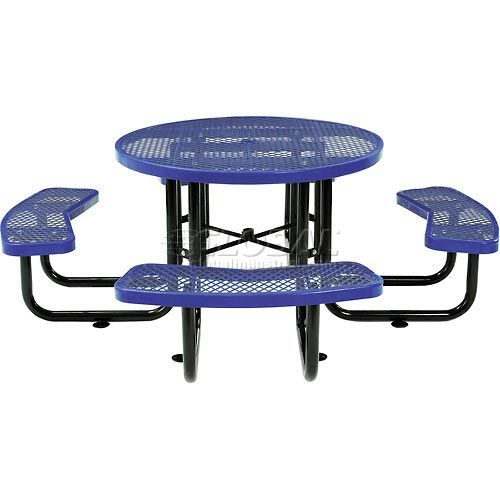"Benches & Picnic Tables | Picnic Tables - Steel | 46"" Round Expanded Metal Picnic Table Blue 