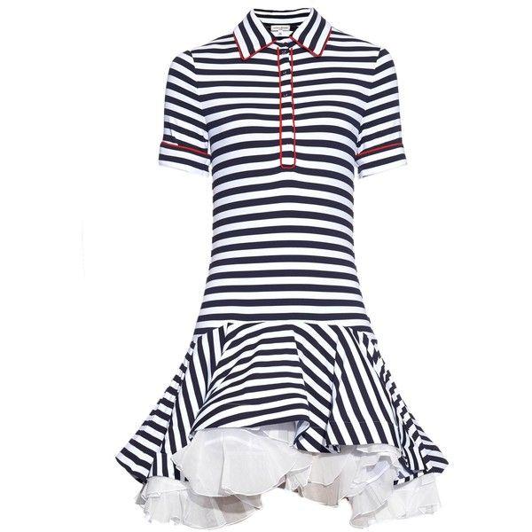 Natasha Zinko Breton-striped jersey ruffled dress (£615) ❤ liked on Polyvore featuring dresses, navy stripe, navy blue striped dress, navy cap sleeve dress, navy stripe dress, nautical stripe dress and ruffle dress