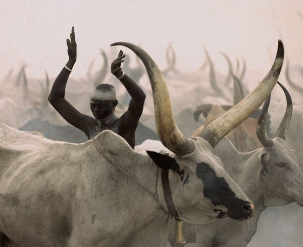 Dinka Man Imitating Horns, South Sudan   Carol Beckwith & Angela Fisher