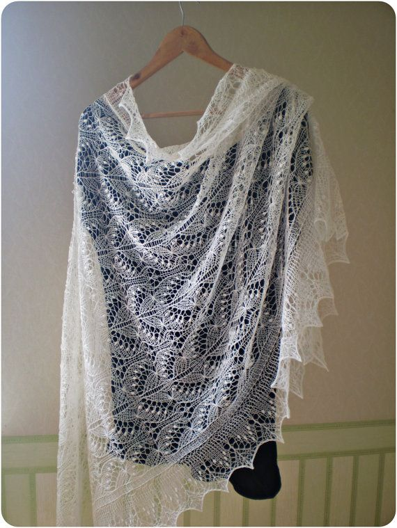 RESERVED Hand knitted wedding shawl Queen Silvia by KnitANDlace