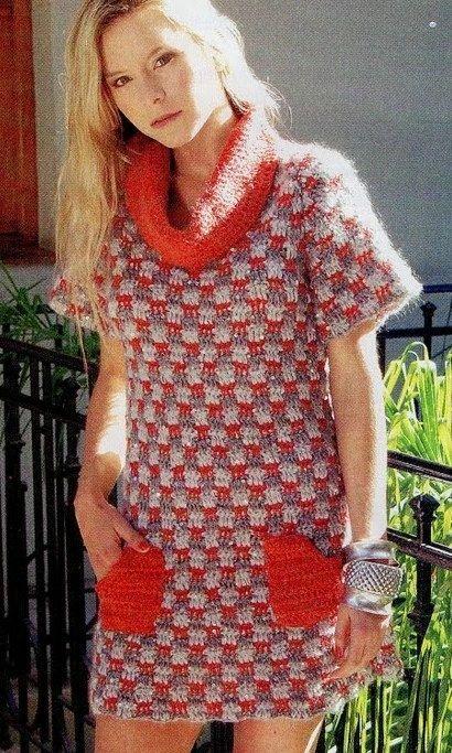 цветная туника или мини-платье с однотонным воротником-хомут и карманами. Обсуждение на LiveInternet - Российский Сервис Онлайн-Дневников