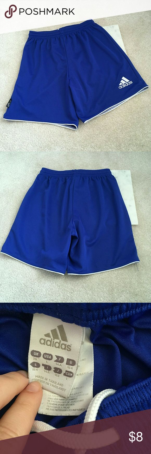 adidas girls large cobalt blue basketball shorts These exercise shorts are great for girls! They are a girls large from Adidas. They are a beautiful cobalt blue color. Excellent condition minus a pull or two Adidas Bottoms Shorts