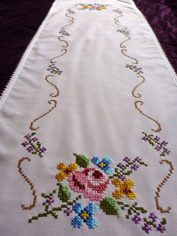 vintage embroidered light pink table runner tablecloth by Retroom