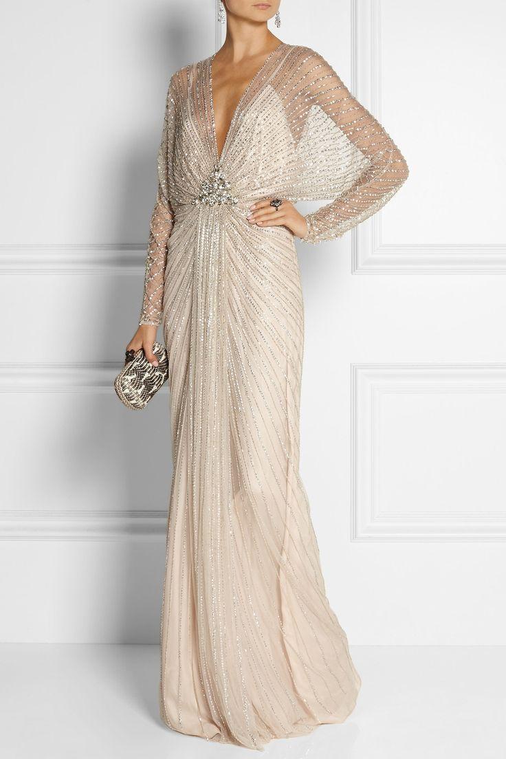 Jenny Packham | Robe longue du soir en tulle ornée de perles