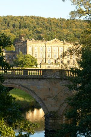 Chatsworth House, located in the north east of Bakewell, Derbyshire, England.