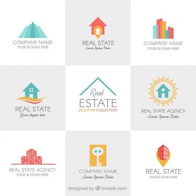 Plantillas de logos a color de inmobiliaria Vector Gratis