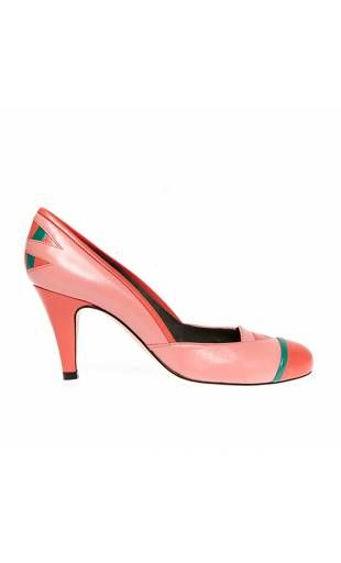 Escarpins with round end pink coral and green leather and skin HEATHER