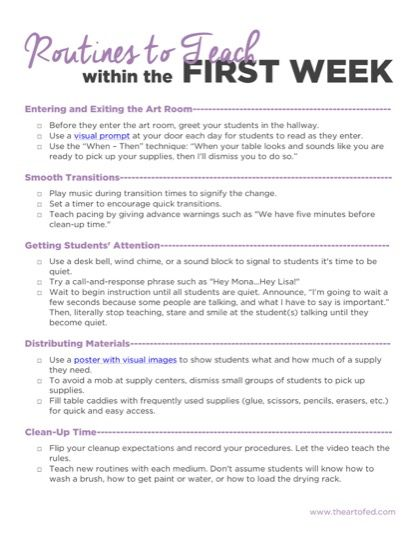 The post Routines to Teach within the First Week appeared first on The Art of Ed.