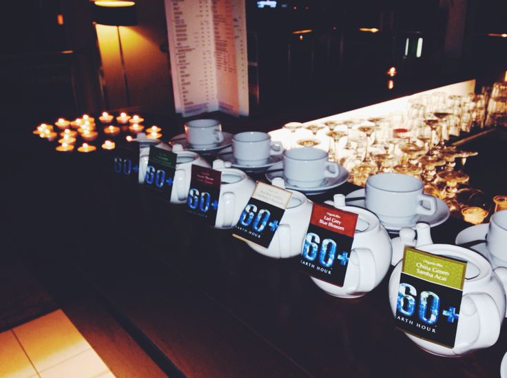 How we participated in Earth Hour on 29th of March - teapots with various tasty teas.