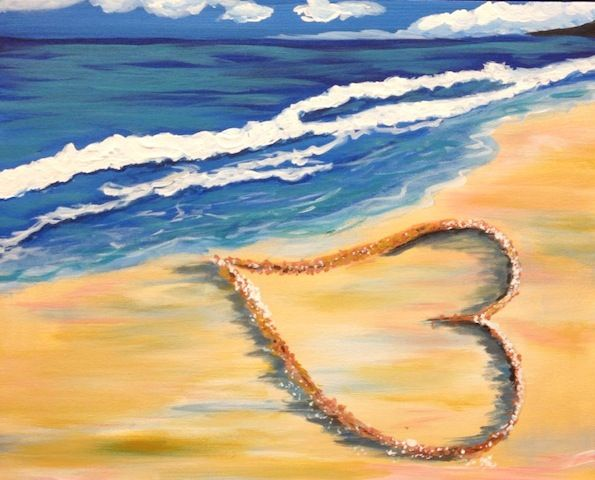 Sip N Paint Class: Beach Heart | creativecanvas.biz