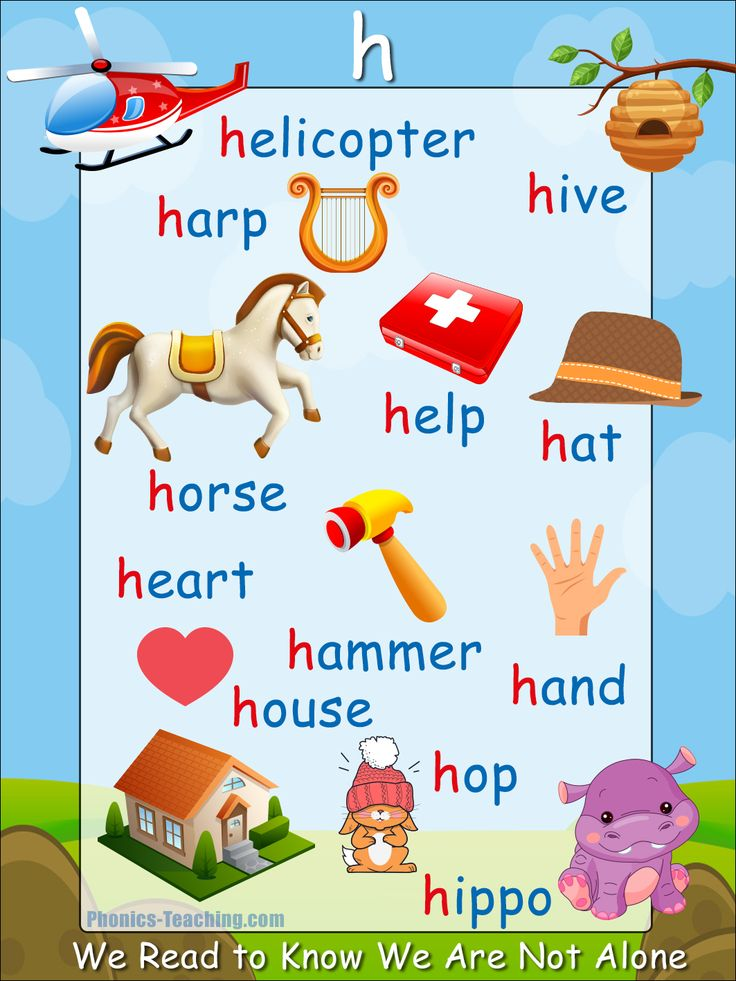 h sound - FREE PRINTABLE phonics poster for auditory discrimination, sound studies, vocabulary and classroom reference.