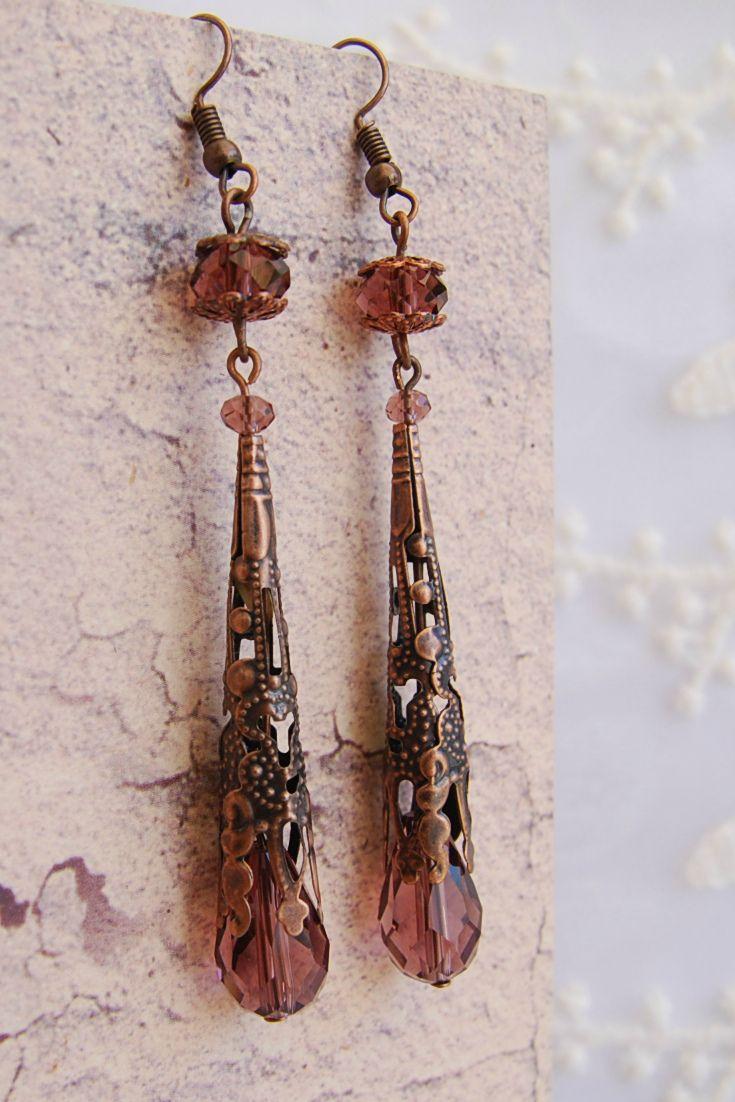 Victorian Earrings, 3 inch long Earrings, Antique Filigree Cone Earrings, Art Deco style earrings, Edvardian Teardrop Earrings, Bohemian, Bridesmaid Earrings, Medieval Renaissance Jewelry, Boho Chic Drop Earrings, Gift for her, Gift for Woman