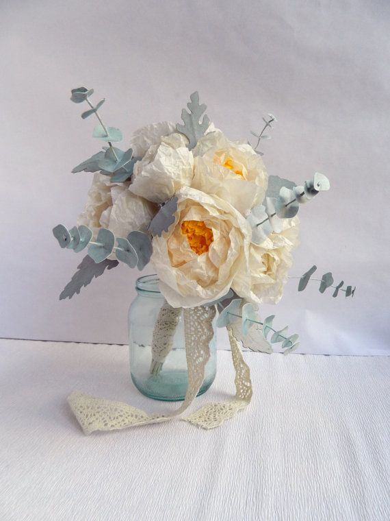 Paper Flower Bouquet with White Peonies Dusty by MyrtleAndQuince