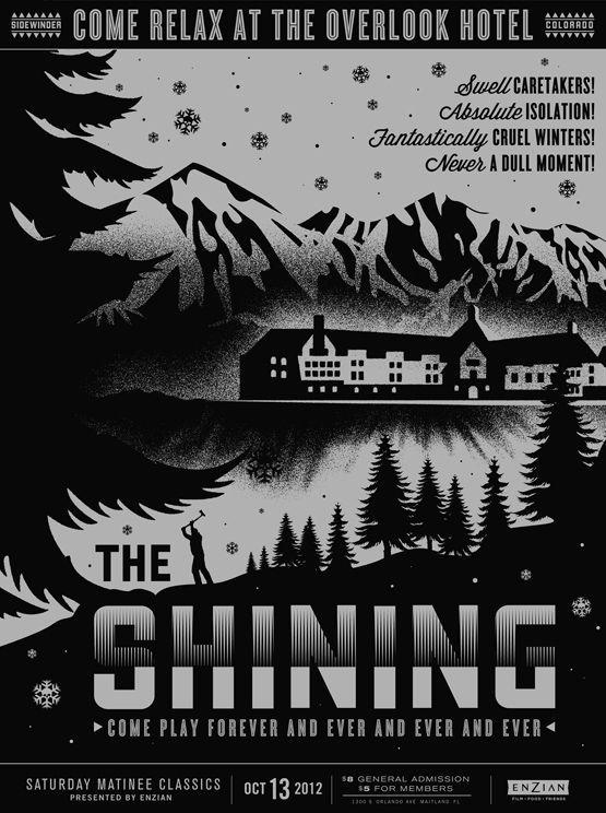 Poster for October, 2012 screening of The Shining at Florida's Enzian Theater .  Design: Lure Design, Inc.