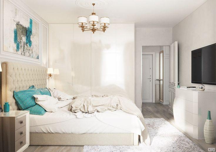 Спальня бирюзовые подушки