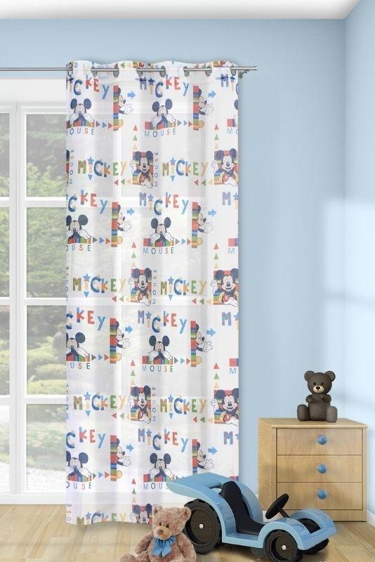 Zasłony w kolorze białym do pokoju dziecka z Myszką Mikki