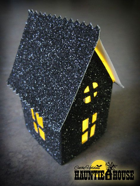 Haunted House Luminary template ~ use with flameless tealight candlesHalloween Kids Crafts, Halloween Parties, 124 Link, Halloween House, Haunted Houses, Glitter House, Halloween Crafts, Halloween Ideas, Boxes Templates