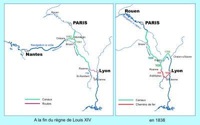 Cartes comparatives du transport de marchandises vers la capitale à la fin du règne de Louis XIV (graphique de gauche) avec la navigation à voile sur la Loire entre Nantes et Orléans et en 1838 (carte de droite) où la navigation à vapeur sur la Seine entre Rouen et Paris a remplacé le cheminement par la Loire. En 1838, le chemin de fer permet également de relier directement Saint-Étienne à la capitale par une ligne qui rejoint le canal à Roanne