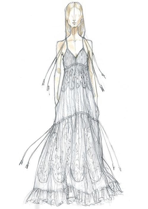 Croquis de la a robe de mariée Chloé de Bar Refaeli mariage Adi Ezra Haifa Israël  http://www.vogue.fr/mariage/inspirations/diaporama/la-robe-de-marie-chlo-de-bar-refaeli/22783#la-robe-de-marie-chlo-de-bar-refaeli