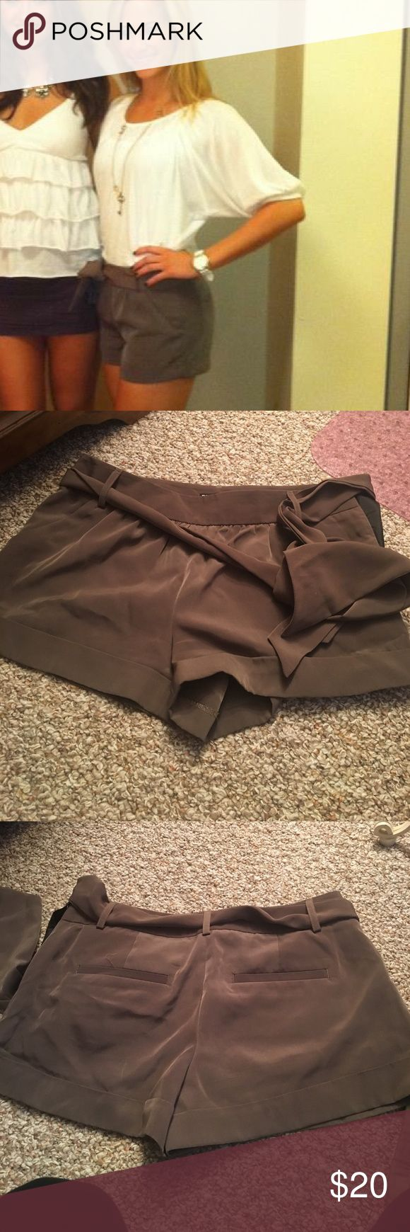NEW condition Express shorts with tie belt Olive green/grey colored polyester shorts from Express. Button and zip side closure with tie belt. Express Shorts