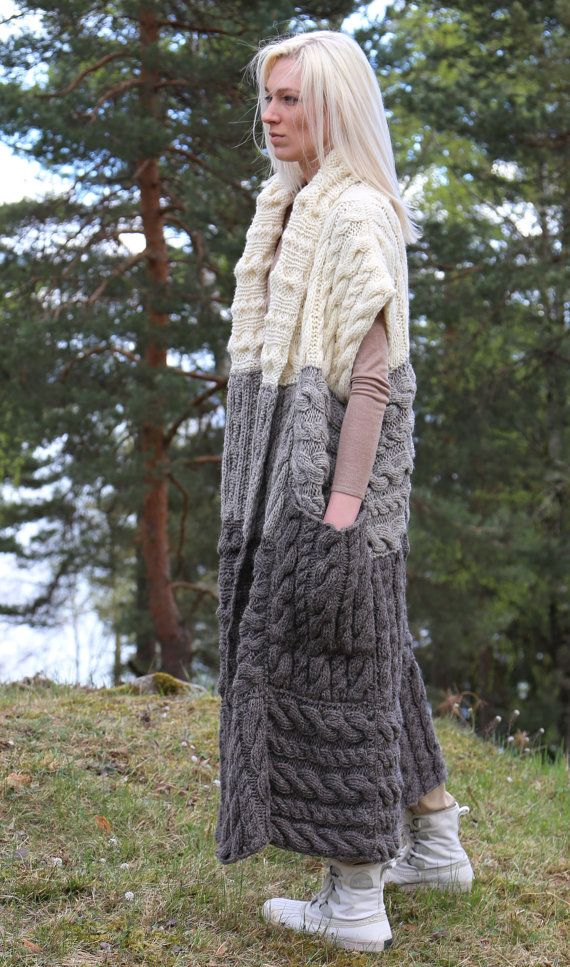 Instant Download PDF pattern. Hand knitted long por IlzeOfNorway