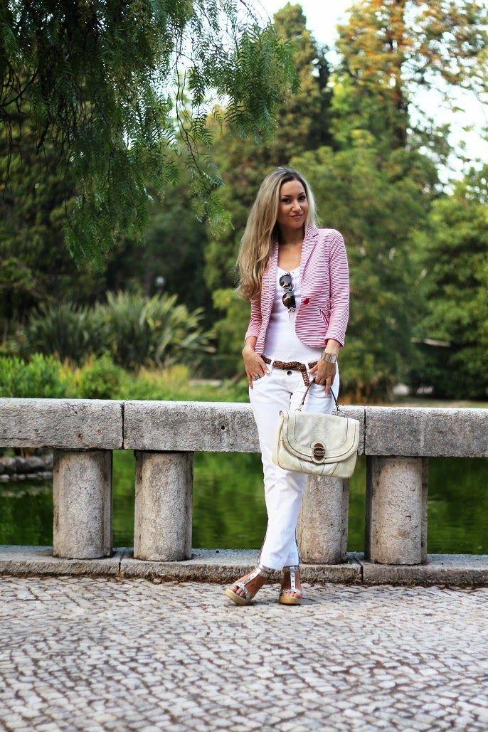 look do dia, ootd, outfit, look of the day, branco total, all white, riscas horizontais, blazer com riscas, striped blazer, prateado, camel,...