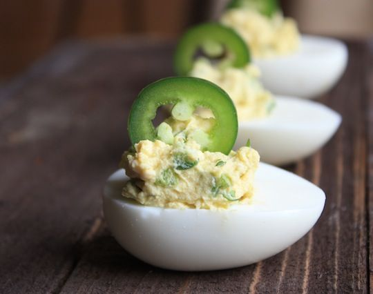 Jalapeno Deviled Eggs @Ashley Moreau @Paige Cone how do you think the guys would do with these