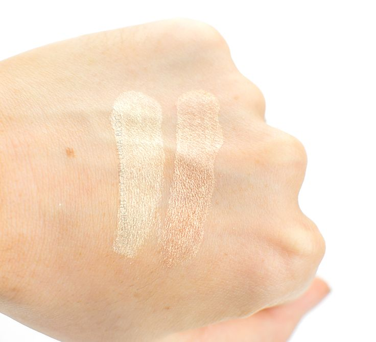 Alima Pure Highlighter Swatches- Luna on the left and Dolce on the right.