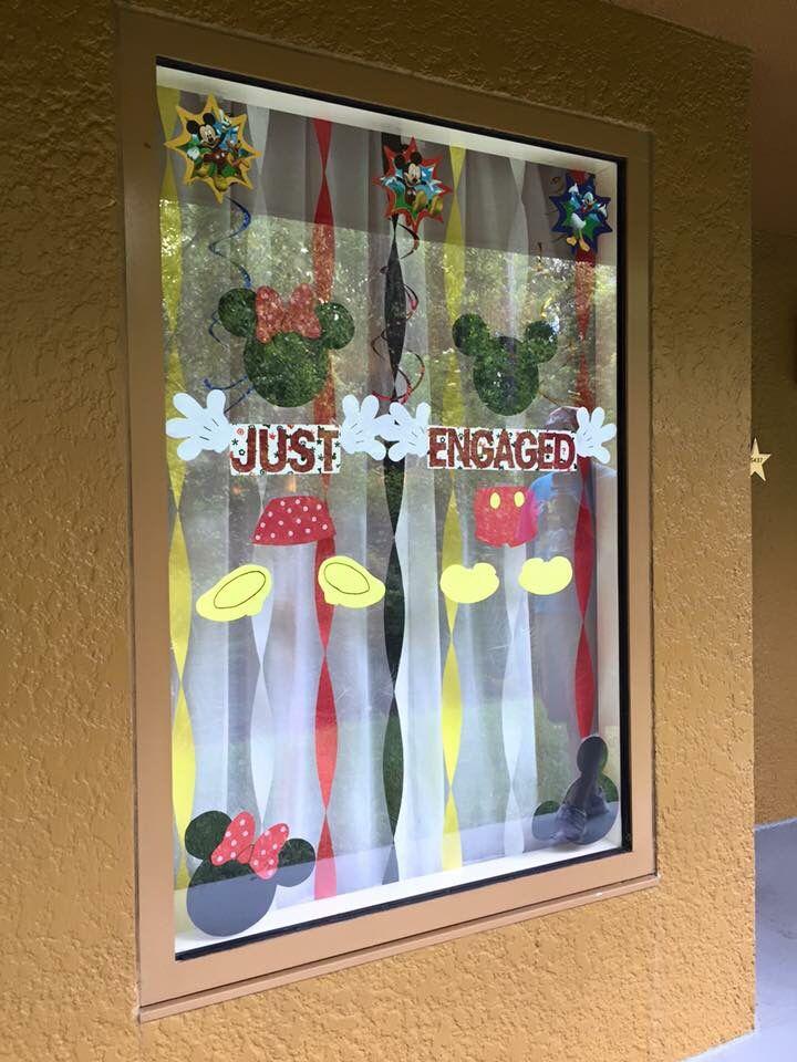 Disney hotel window decoration. Just engaged!