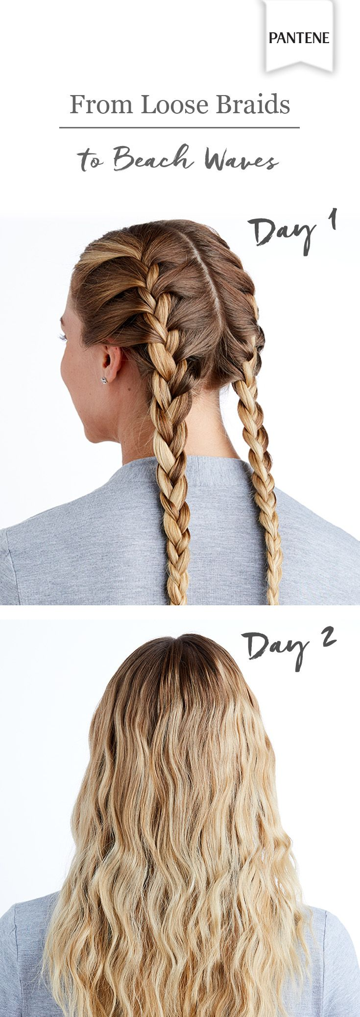 For an easy second-day hairstyle, just wear your hair in loose braids on day one. Sleep in them overnight, then undo them the next day for chic, no-heat beach waves.