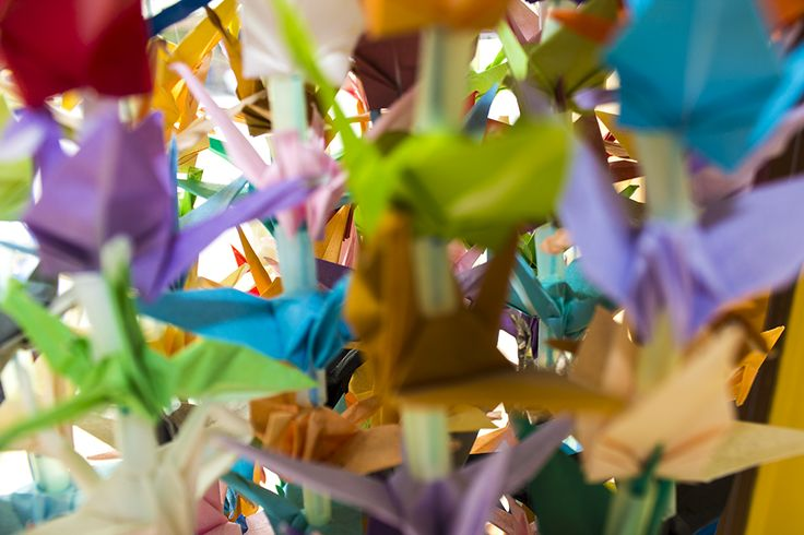 our vertical paper crane displays greet our customers as they come through the front door