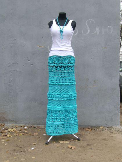"""Юбка """"Бирюзовые сны"""" - тёмно-бирюзовый,однотонный,юбка в пол,юбка крючком"""