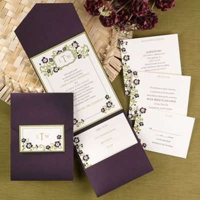 An Ecru Invitation Is Layered On Top Of Olive Backer A Fl Country Chic Deep Purpledark Purple Weddingeggplant