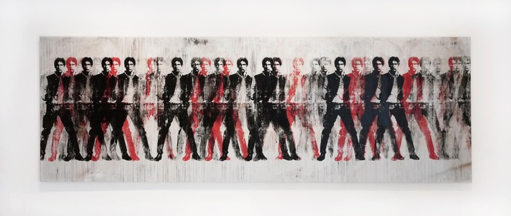 RYCA  HAN Red & Black  Silkscreen & Hand Painting on canvas.  Unique  142 x 48 inches  2013  *available for purchase
