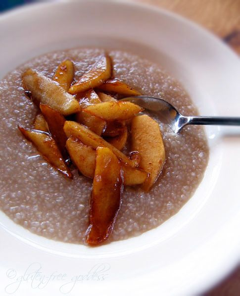 Hot Buckwheat Cereal With Cinnamon Apples -  Buckwheat hot cereal pinch of sea salt 1 ripe apple per person vegan buttery spread cinnamon pure maple syrup